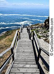 háttér, tenger, spanyolország, galicia, út, észak, fénykép, európa