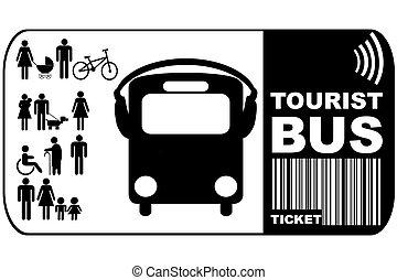háttér, természetjáró, elszigetelt, cédula, autóbusz, fehér