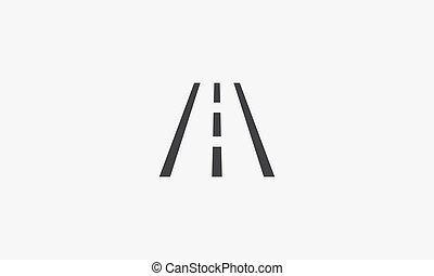 háttér., tervezés, lakás, illustration., elszigetelt, fehér, autóút, ikon, vektor