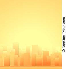 háttér, város, napkelte