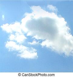 háttér., vektor, ég, felhős