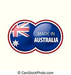 háttér., vektor, lobogó, ausztrália, ábra, fehér