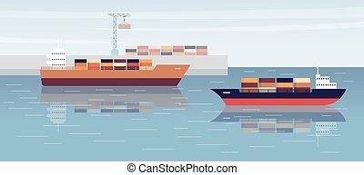 háttér, vektor, rakomány, hajózás, tenger, hajó, lakás, illustration., rév