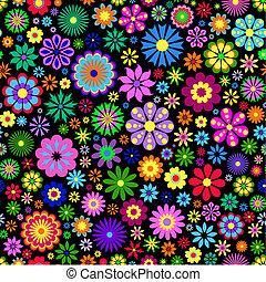 háttér, virág, fekete, színes