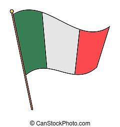 háttér, zászlórúd, jelkép, nemzeti, fehér, mexikói, felett, elszigetelt, ikon