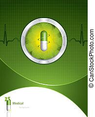 háttér, zöld, orvosi