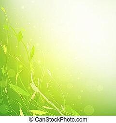 háttér, zöld, virágos