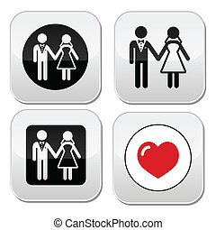 házaspár, esküvő, ikon, dél, fehér