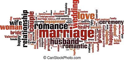 házasság, szó, felhő