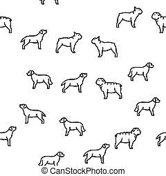 háziállat, motívum, kutya, vektor, seamless