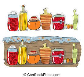 házi készítésű, dzsem, polc, fűszeráruk