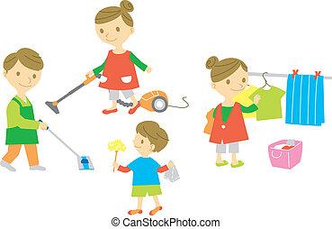 háztartás, család, mosás