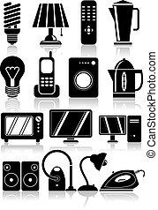 háztartás, set., eszköz, ikonok