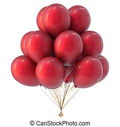 hélium, léggömb, piros, színes, csokor