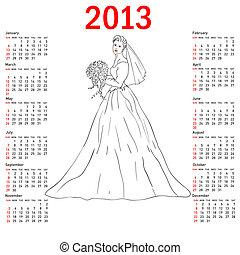 hét, 2013., csokor, felriaszt, menyasszony, sunday., esküvő, elegáns, naptár, ruha, fehér