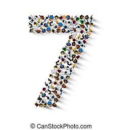 hét, csoport, emberek, szám, form., nagy, 7