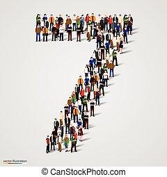 hét, csoport, forma, emberek, szám, nagy, 7