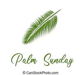 hét, easter., leaf., transzparens, vagy, pálma, előbb, card., sunday.