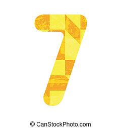 hét, elvont, sárga, szám