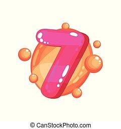 hét, gyerekek, szám, ábra, fényes, vektor, sima, háttér, fukszin, betűtípus, fehér
