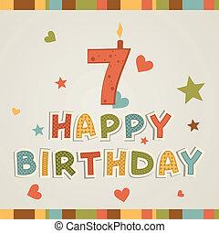 hét, szám, birthday., boldog