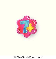 hét, szám, isolated., alkalmaz, ábra, korlátozó, vektor, plusz, játékok, gördülni, vagy