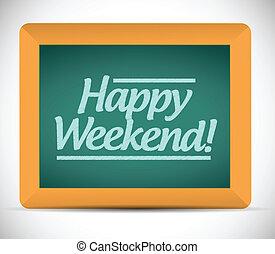 hétvégi, felett, blackboard., üzenet, boldog