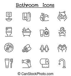 híg, állhatatos, ikon, fürdőszoba, mód, egyenes