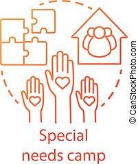 híg, fogyatékos, icon., segély, különleges, drawing., fogalom, stroke., organisation., klub, nyár, áttekintés, igények, illustration., közösség, gondolat, egyenes, elszigetelt, társadalmi, jótékonyság, vektor, tábor, segítség, editable