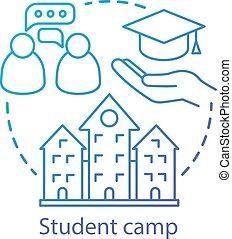 híg, icon., egyetem, drawing., fogalom, stroke., klub, nyár, áttekintés, nevelési, illustration., közösség, gondolat, főiskola, egyenes, elszigetelt, tanulás, experience., facility., vektor, tábor, osztozás, diák, editable