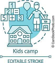 híg, icon., gyermek, drawing., fogalom, stroke., ünnep, resort., izbogis, klub, nyár, áttekintés, nevelési, illustration., közösség, gondolat, gyerekek, után, egyenes, elszigetelt, facility., gyerekek, vektor, tábor, editable