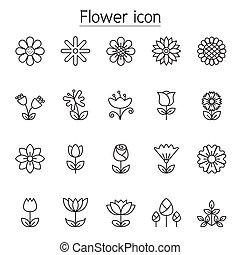 híg, ikon, állhatatos, virág, egyenes, mód