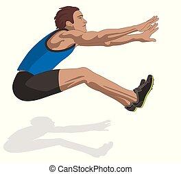 hím, airborne ugrál, atléta, fehér, elszigetelt, hosszú, háttér