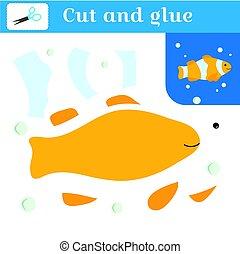 hímez, fish., elvág, card., fish, -, rejtvény, kézi munka, bohóckodik, bubbles., játék, dolgozat, vektor, tanulás, preschoolers., illustration., glue., applique., alkot, ki