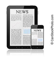 hír, modern, berendezés, digitális