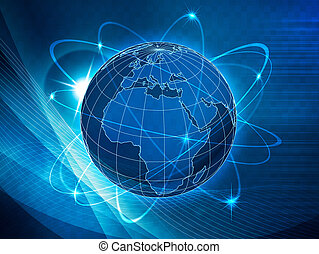híradástechnika, globális, szállítás, háttér