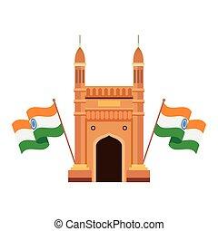 híres, emlékmű, háttér, india, fehér, zászlók, kapubejárat