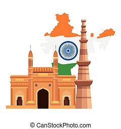 híres, minar, nyelvemlékek, qutub, háttér, india, india, fehér, kapubejárat, térkép