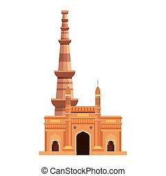 híres, nyelvemlékek, qutub, háttér, india, fehér, minar, kapubejárat