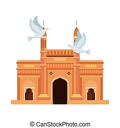 híres, repülés, emlékmű, india, gerle, kapubejárat