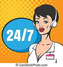 hívás összpontosít, komikus, szolgáltatás, vásárló, style., műszaki, ábra, könyv, eltart, vagy
