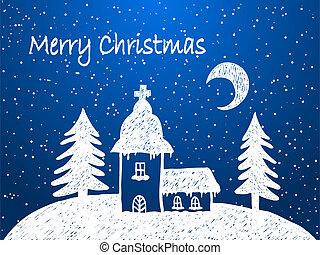 hó, éjszaka, karácsony, templom