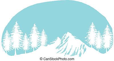 hó csúcs, hegy, fa