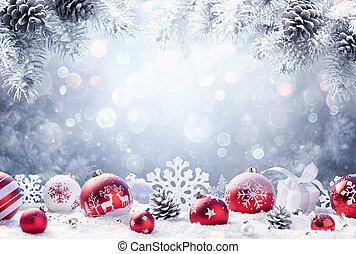 hó, díszítés, fenyő, piros, -, karácsony, elágazik