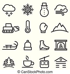 hó, egyenes, tél, ikonok