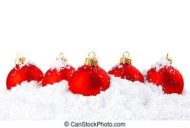 hó, golyózás, dekoráció, fehér, ünnep, karácsony, piros