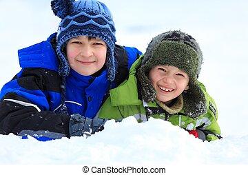 hó, gyermekek játék