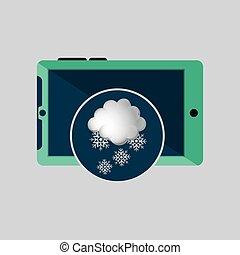 hó, időjárás, tervezés, zöld, smartphone, felhő, ikon