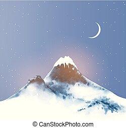 hó, moon., csillaggal díszít, éjszaka ég, hegy, nagy, tél, kék