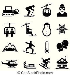 hó sport, tél, síel, ikonok